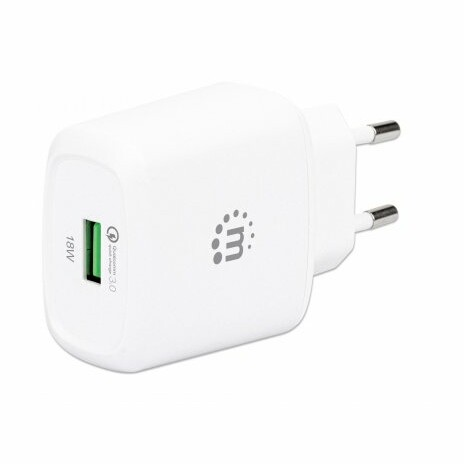 MANHATTAN USB-A nabíječka QC 3.0 Wall Charger - 18 W, USB-A Quick Charge™ 3.0 Port up to 18 W, Europlug, bílá